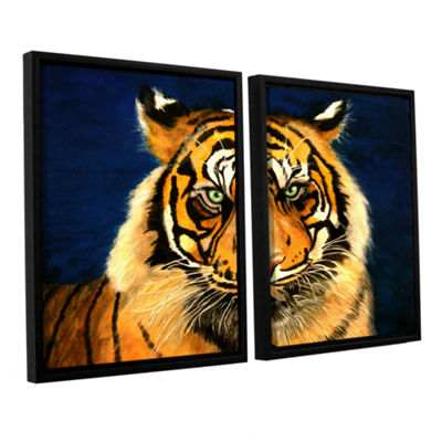 Brushstone Tiger By Lins 2-pc. Floater Framed Canvas Wall Art