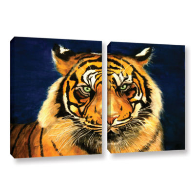 Brushstone Tiger By Lins 2-pc. Gallery Wrapped Canvas Wall Art