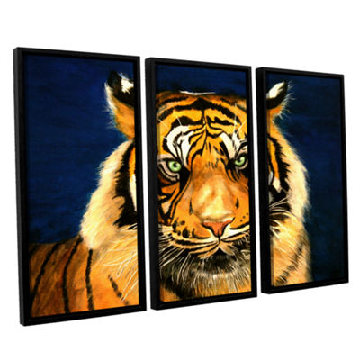 Brushstone Tiger By Lins 3-pc. Floater Framed Canvas Wall Art