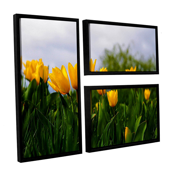 Brushstone Tulips by Lindsey Janich 3-pc. Flag Floater Framed Canvas Wall Art