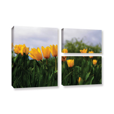 Brushstone Tulips by Lindsey Janich 3-pc. Flag Gallery Wrapped Canvas Wall Art