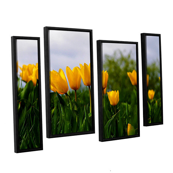 Brushstone Tulips by Lindsey Janich 4-pc. FloaterFramed Staggered Canvas Wall Art