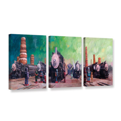 Brushstone Trainyard 3-pc. Gallery Wrapped CanvasWall Art