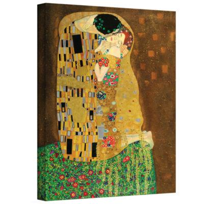 Brushstone The Kiss By Gustav Klimt Gallery Wrapped Canvas Wall Art