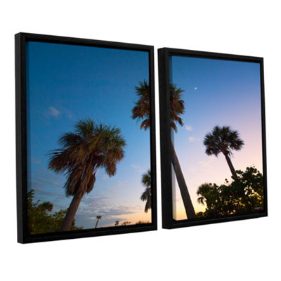 Brushstone Trees At Dusk by Antonio Raggio 2-pc. Floater Framed Canvas Wall Art