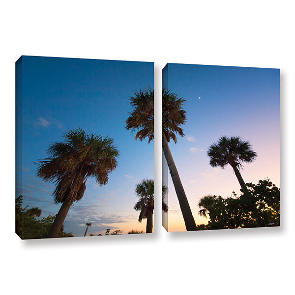 Brushstone Trees At Dusk by Antonio Raggio 2-pc.Gallery Wrapped Canvas Wall Art