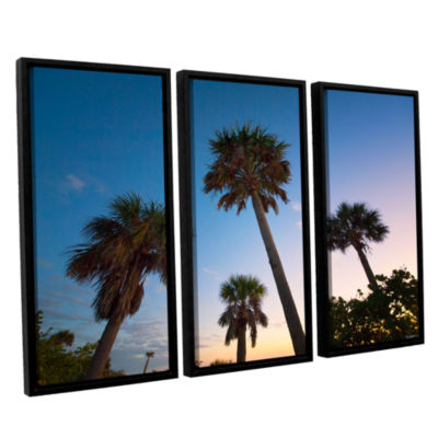 Brushstone Trees At Dusk by Antonio Raggio 3-pc.Floater Framed Canvas Wall Art