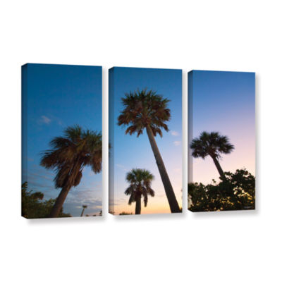Brushstone Trees At Dusk by Antonio Raggio 3-pc. Gallery Wrapped Canvas Wall Art
