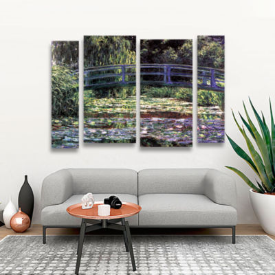 Brushstone The Japanese Footbridge  Giverny 4-pc.Gallery Wrapped Staggered Canvas Wall Art
