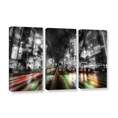 Brushstone Tokyo Night 3-pc. Gallery Wrapped Canvas Wall Art