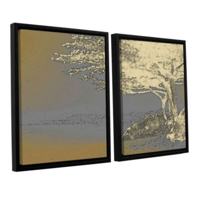 Brushstone Tree On Beach 2-pc. Floater Framed Canvas Wall Art