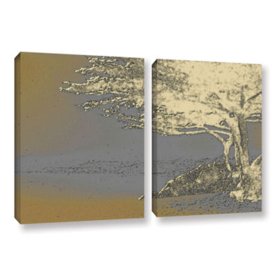 Brushstone Tree On Beach 2-pc. Gallery Wrapped Canvas Wall Art