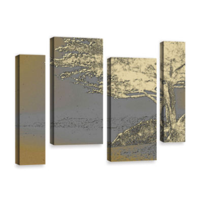 Brushstone Tree On Beach 4-pc. Gallery Wrapped Staggered Canvas Wall Art