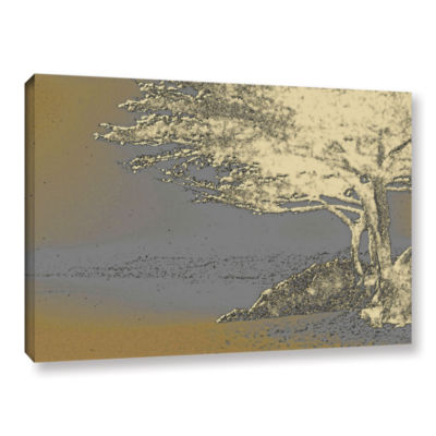 Brushstone Tree On Beach Gallery Wrapped Canvas Wall Art