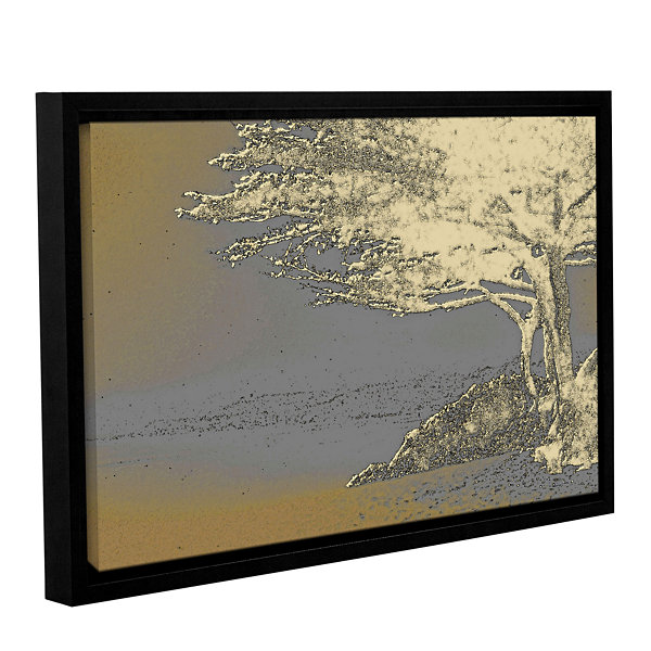 Brushstone Tree On Beach Gallery Wrapped Floater-Framed Canvas Wall Art