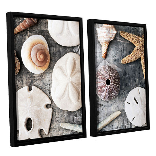 Brushstone Treasures From The Sea 2 Pc Floater Framed Canvas Wall Art