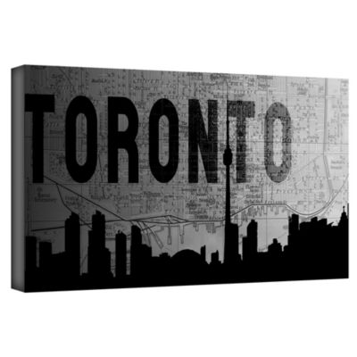Brushstone Toronto (Map) Gallery Wrapped Canvas Wall Art