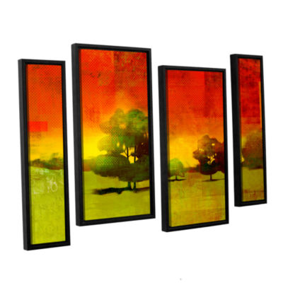 Brushstone Tree Study 4-pc. Floater Framed Staggered Canvas Wall Art