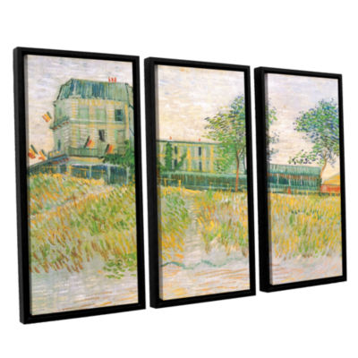 Brushstone The Restaurant De La Sirene  Asnieres 3-pc. Floater Framed Canvas Wall Art