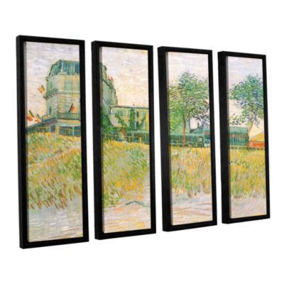 Brushstone The Restaurant De La Sirene  Asnieres 4-pc. Floater Framed Canvas Wall Art