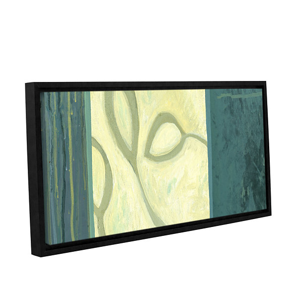 Brushstone Three Leaves I Gallery Wrapped Floater-Framed Canvas Wall Art