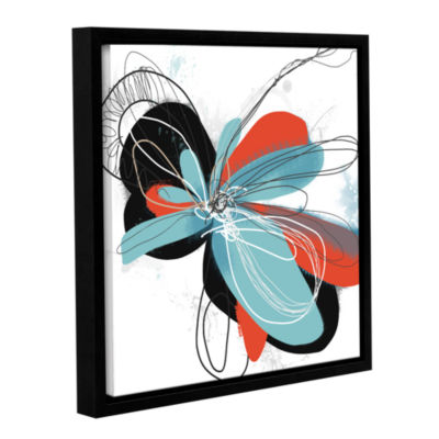 Brushstone Tiffany Blue Pop Petals Gallery WrappedFloater-Framed Canvas Wall Art