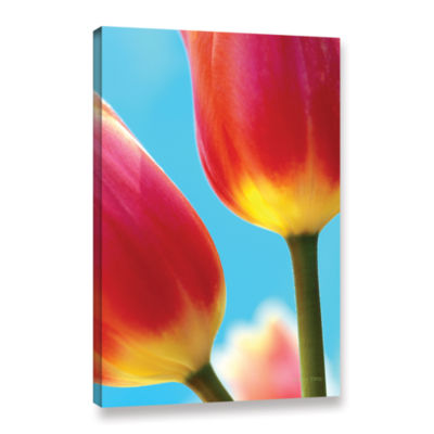 Brushstone Tulips On Blue Gallery Wrapped Canvas Wall Art