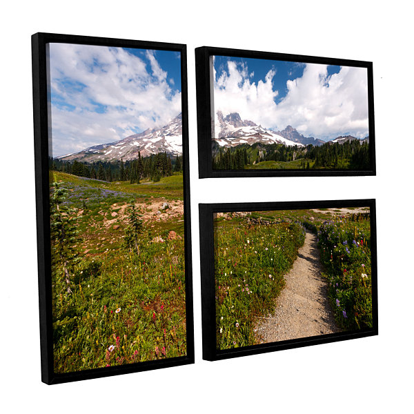 Brushstone The Path To Mt Rainier 3-pc. Flag Floater Framed Canvas Wall Art