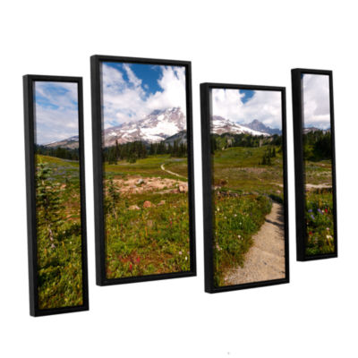 Brushstone The Path To Mt Rainier 4-pc. Floater Framed Staggered Canvas Wall Art