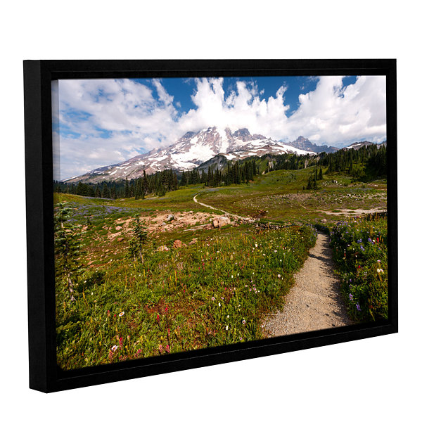 Brushstone The Path To Mt Rainier Gallery WrappedFloater-Framed Canvas Wall Art