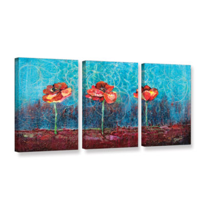 Brushstone Three Poppies 3-pc. Gallery Wrapped Canvas Wall Art