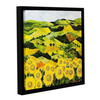 Brushstone Sunflowers And Sunshine Gallery WrappedFloater-Framed Canvas Wall Art