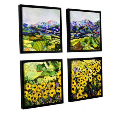 Brushstone Sweet Bluff 4-pc. Square Floater FramedCanvas Wall Art