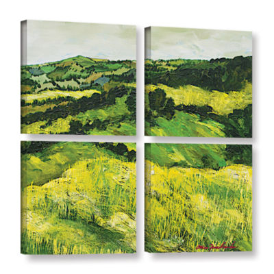 Brushstone Tall Grass Path 4-pc. Square Gallery Wrapped Canvas Wall Art