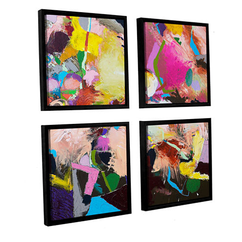 Brushstone The Can Can 4-pc. Square Floater FramedCanvas Wall Art