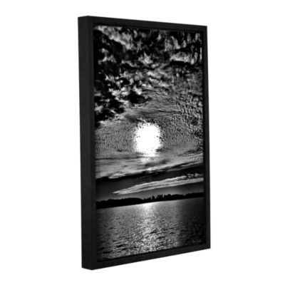 Brushstone Sunset B&W Gallery Wrapped Floater-Framed Canvas Wall Art