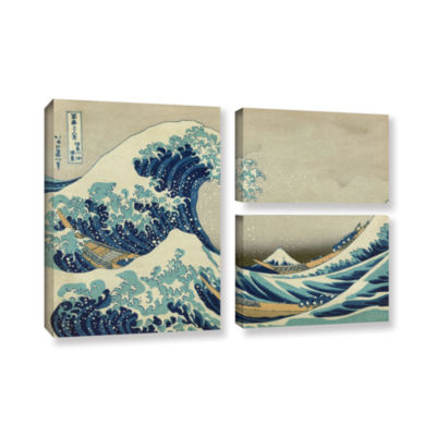 Brushstone The Great Wave Off Kanagawa 3-pc. FlagGallery Wrapped Canvas Wall Art