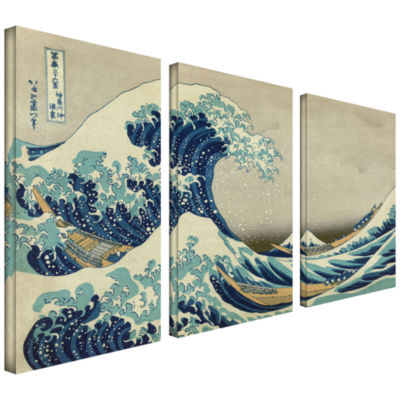 Brushstone The Great Wave Off Kanagawa 3-pc. Gallery Wrapped Canvas Wall Art