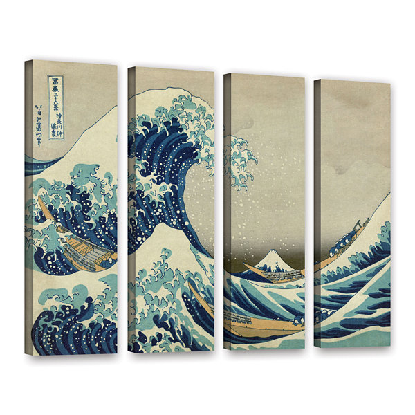 Brushstone The Great Wave Off Kanagawa 4-pc. Gallery Wrapped Canvas Wall Art