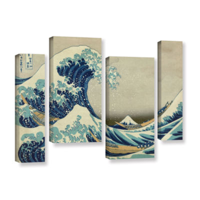 Brushstone The Great Wave Off Kanagawa 4-pc. Gallery Wrapped Staggered Canvas Wall Art