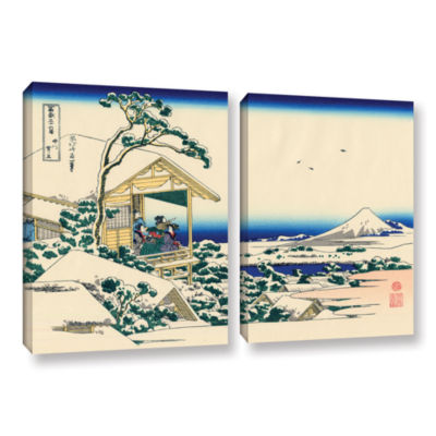 Brushstone Tea House At Koishikawa. The Morning After A Snowfall. 2-pc. Gallery Wrapped Canvas WallArt