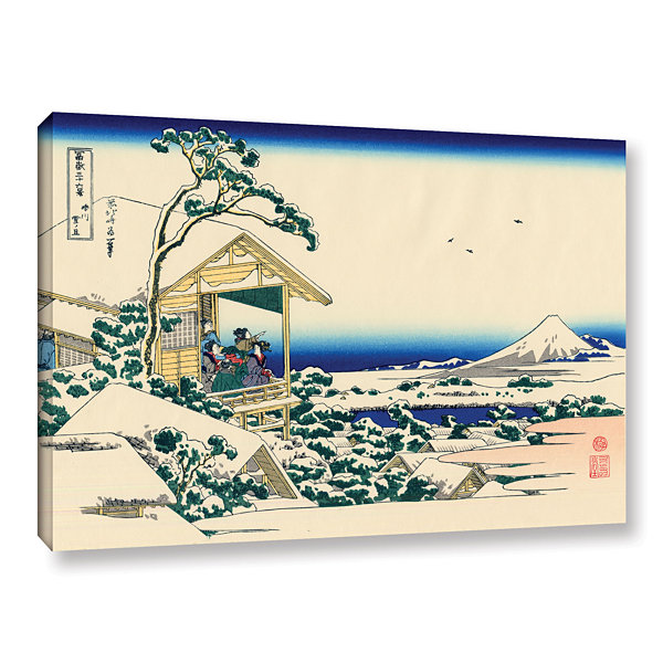 Brushstone Tea House At Koishikawa. The Morning After A Snowfall. Gallery Wrapped Canvas Wall Art