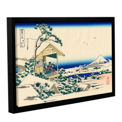 Brushstone Tea House At Koishikawa. The Morning After A Snowfall. Gallery Wrapped Floater-Framed Canvas Wall Art