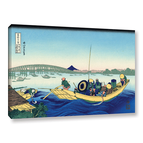 Brushstone Sunset Across The Ryogoku Bridge From The Bank Of The Sumida River At Onmagayashi GalleryWrapped Canvas Wall Art