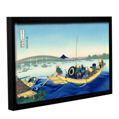 Brushstone Sunset Across The Ryogoku Bridge From The Bank Of The Sumida River At Onmagayashi GalleryWrapped Floater-Framed Canvas Wall Art