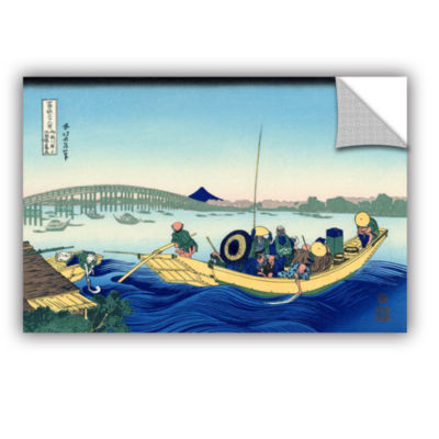 Brushstone Sunset Across The Ryogoku Bridge From The Bank Of The Sumida River At Onmagayashi Removable Wall Decal