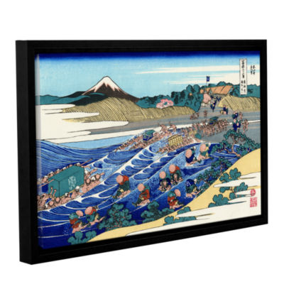 Brushstone The Fuji From Kanaya On The Tokaido Gallery Wrapped Floater-Framed Canvas Wall Art