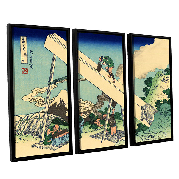 Brushstone The Fuji From The Mountains Of Totomi 3-pc. Floater Framed Canvas Wall Art