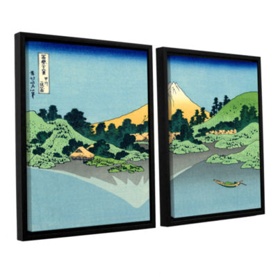 Brushstone The Fuji Reflects In Lake Kawaguchi Seen From The Misaka Pass In The Kai Province 2-pc. Floater Framed Canvas Wall Art