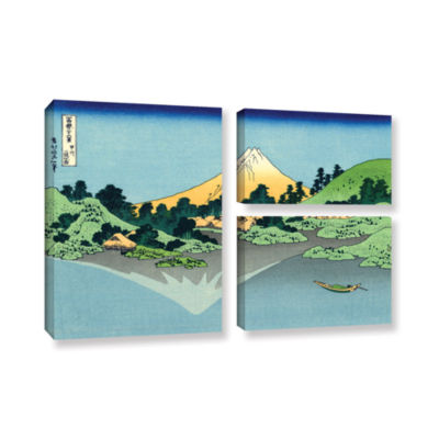 Brushstone The Fuji Reflects In Lake Kawaguchi Seen From The Misaka Pass In The Kai Province 3-pc. Flag Gallery Wrapped Canvas Wall Art